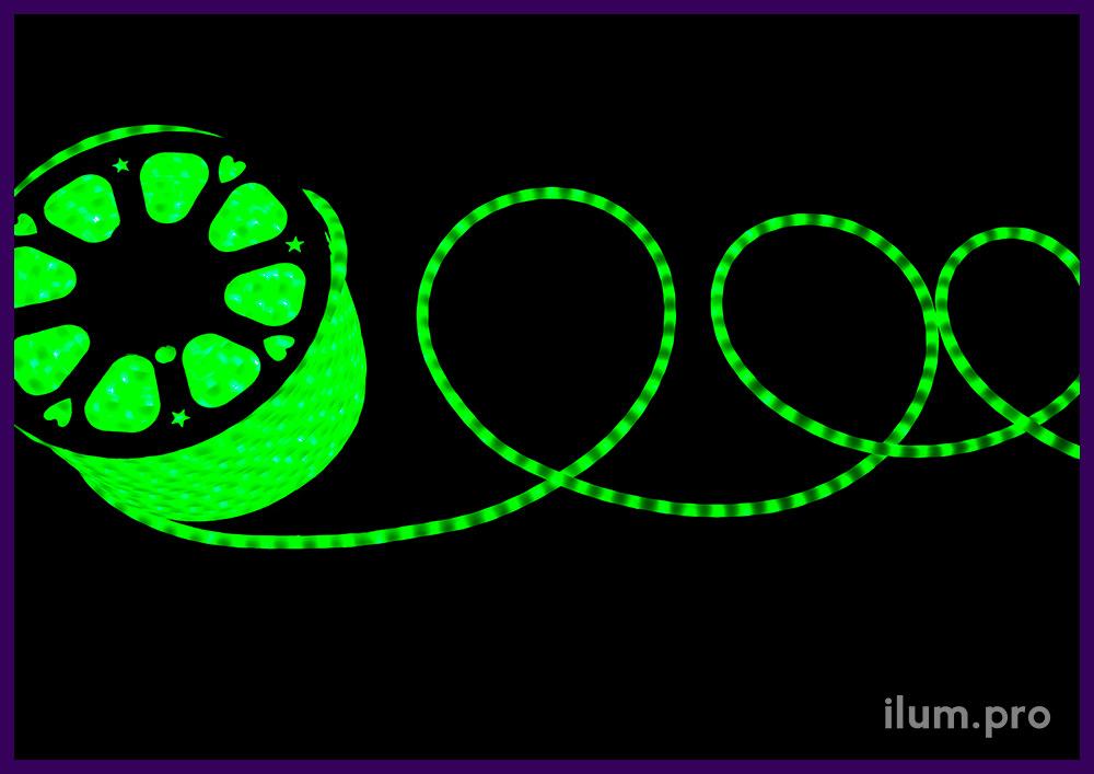 Дюралайт светодиодный матовый зелёного цвета для улицы и интерьера