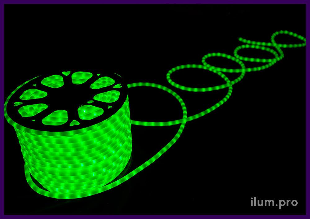 100 метров светодиодного дюралайта с матовой оболочкой, свечение зелёного цвета