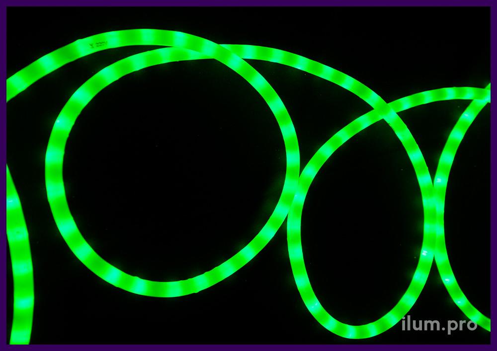 Бухта светодиодного дюралайта зелёного цвета с матовой светорассеивающей оболочкой