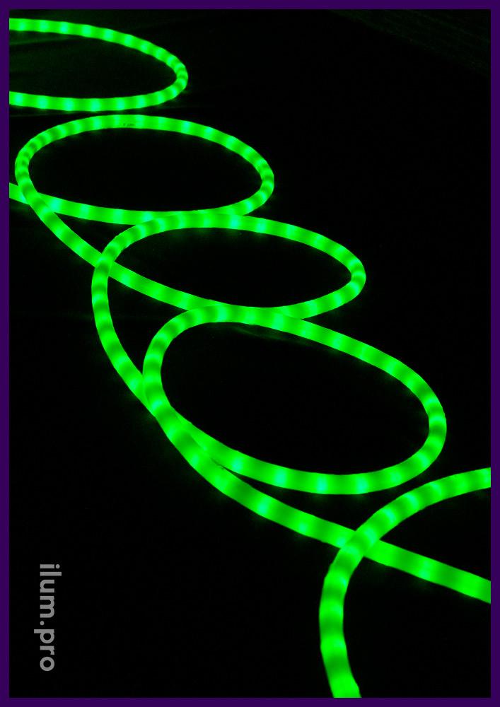 Зелёный матовый светодиодный дюралайт для освещения контуров объектов