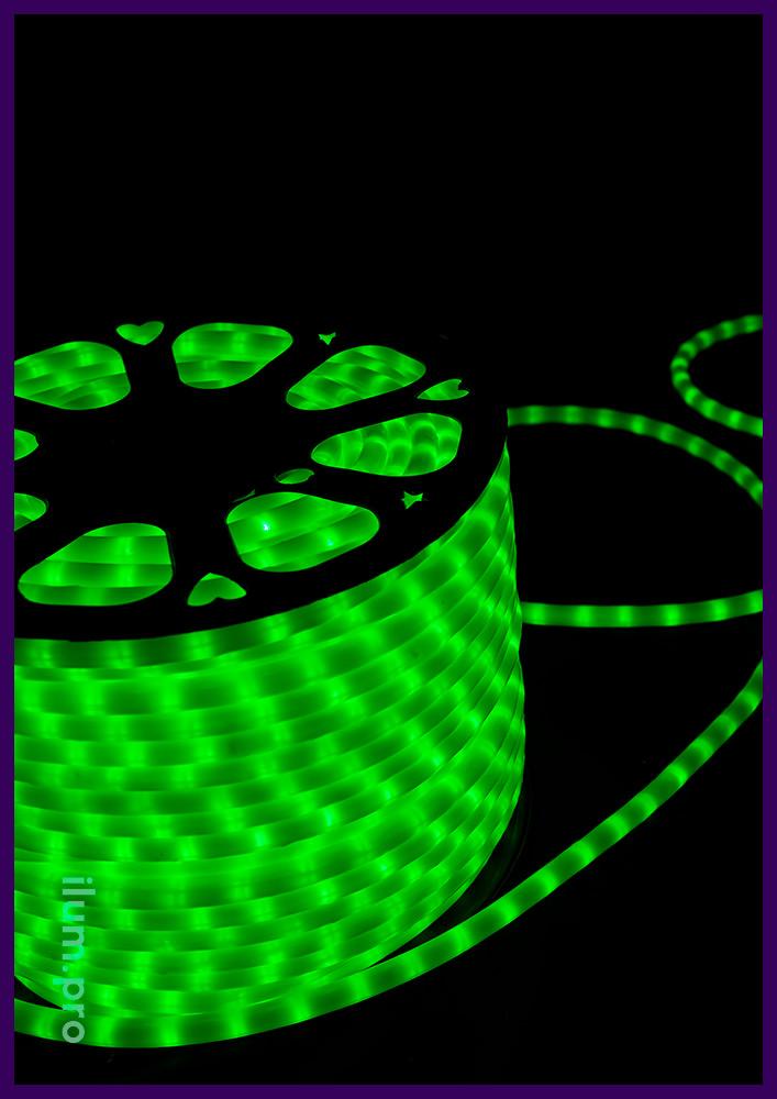 Матовый светодиодный дюралайт с оболочкой из ПВХ, зелёное свечение