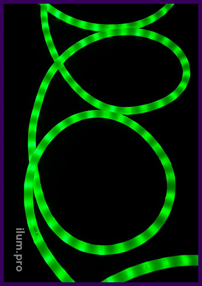 Дюралайт диаметром 13 мм, матовая трубка, зелёный цвет свечения, защита от осадков IP65