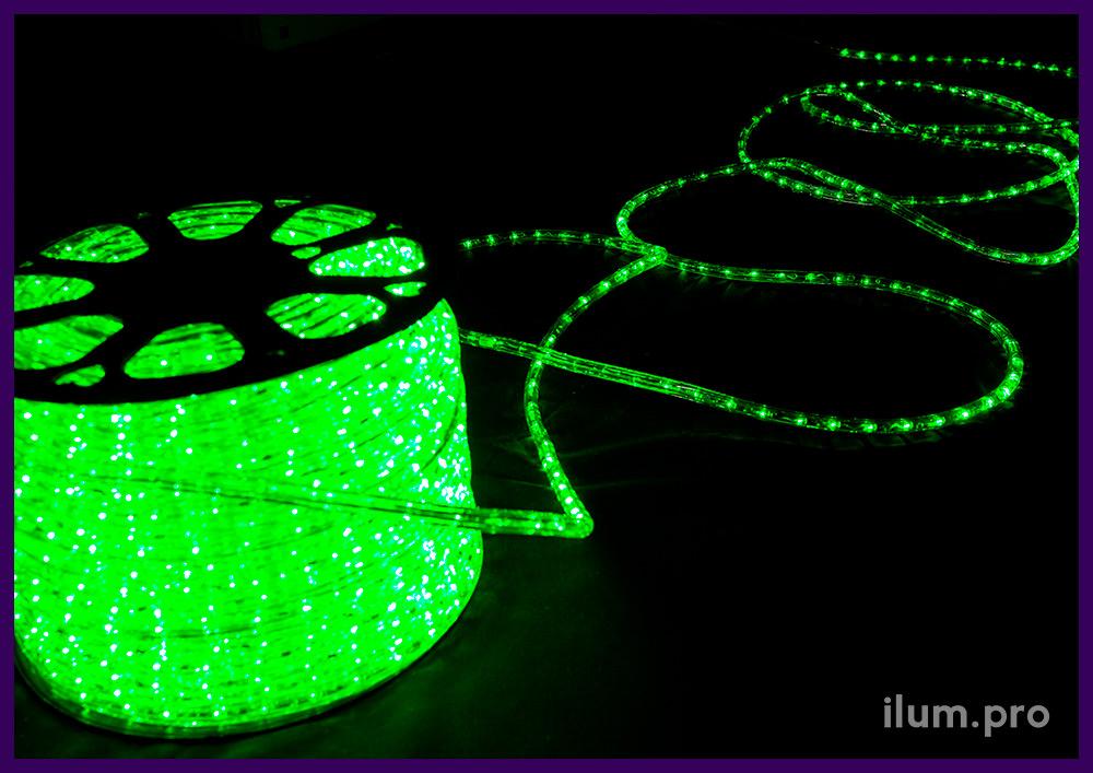 Светодиодный дюралайт зелёного цвета, прозрачная трубка диаметром 13 мм, новогодняя иллюминация