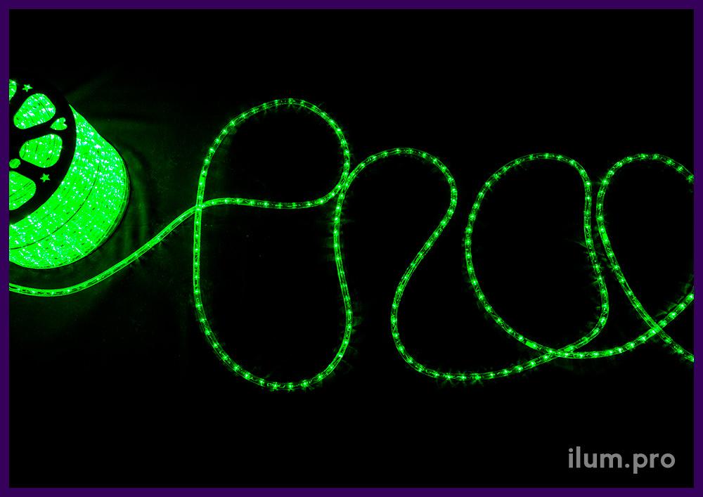 Дюралайт прозрачный с зелёными светодиодами, бухта длиной 100 метров