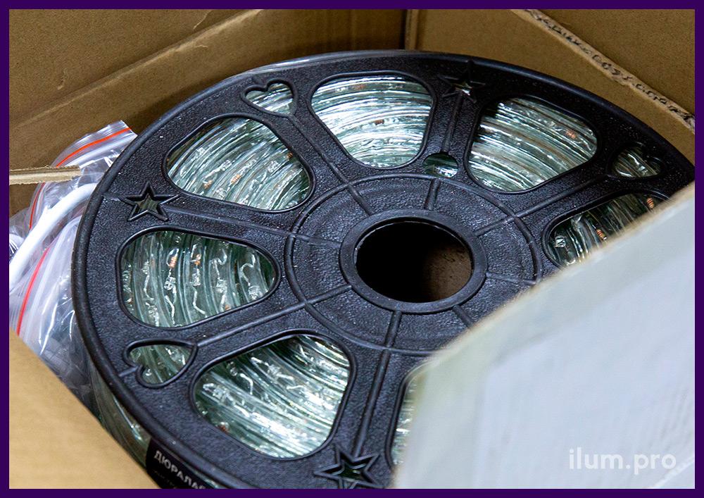 Дюралайт светодиодный с зелёным свечением, прозрачная оболочка из ПВХ с добавлением силикона
