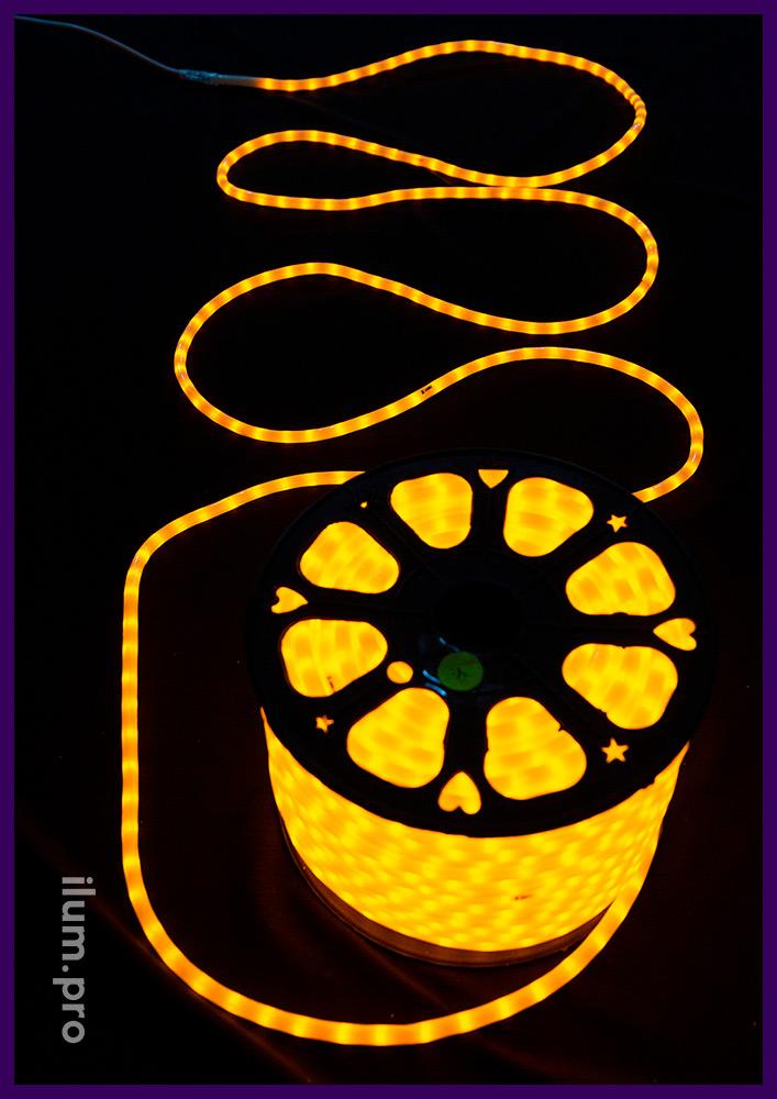 Жёлтый светодиодный дюралайт в бухтах длиной 100 метров, матовый ПВХ