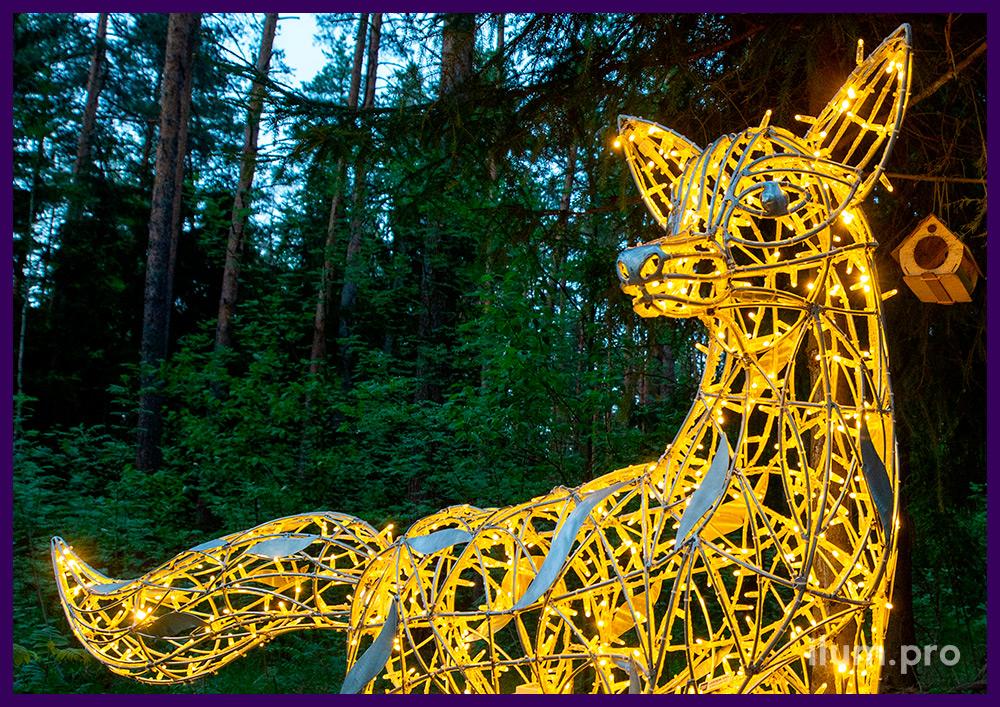 Светящаяся фигура лиса с гирляндами для благоустройства на праздники