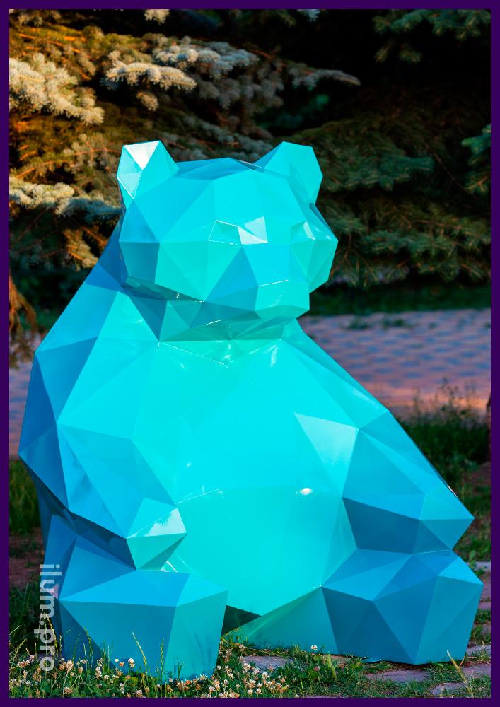 Металлические полигональные арт-объекты в форме животных для украшения парков и скверов