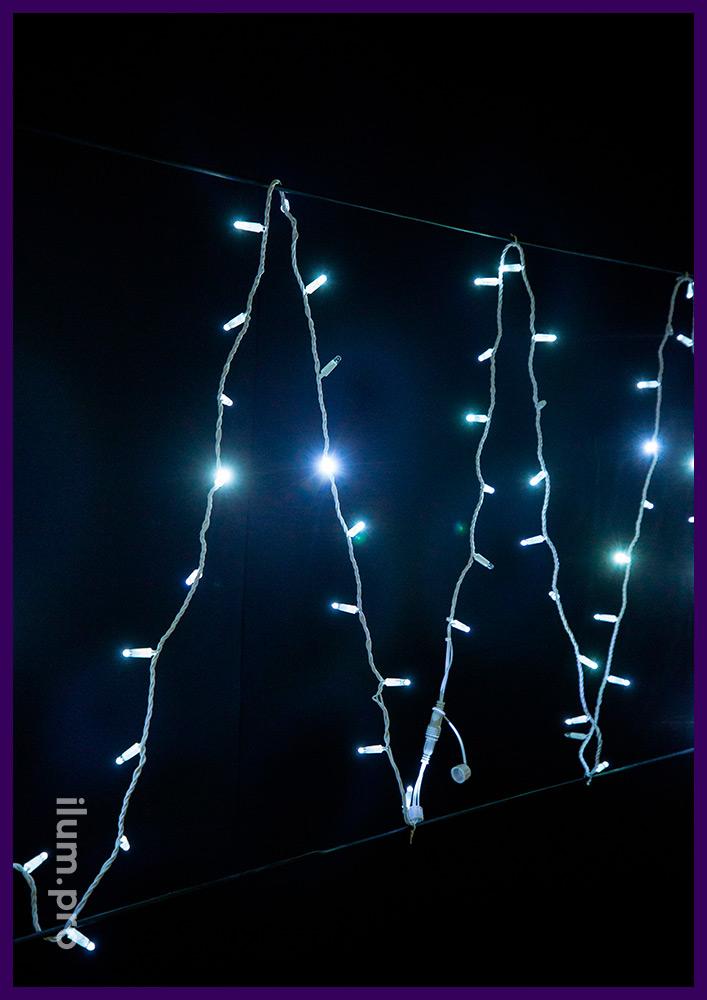 Мерцающая светодиодная нить на белом проводе, белое свечение, 220 В