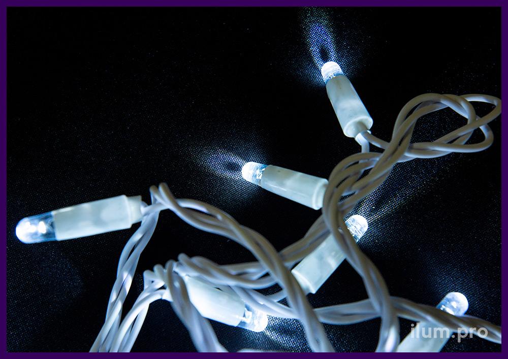 Гирлянда белого цвета для улицы и интерьера, светодиодная нить, 10 метров, статическое свечение