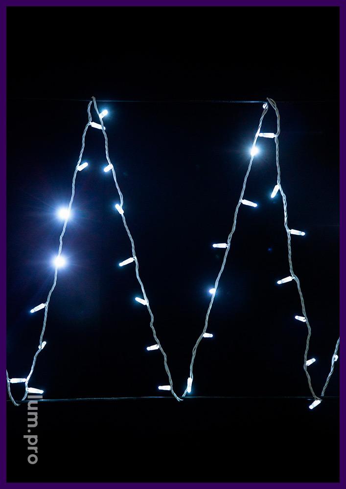 Белая светодиодная гирлянда нить с постоянным свечением на белом проводе, 220 В