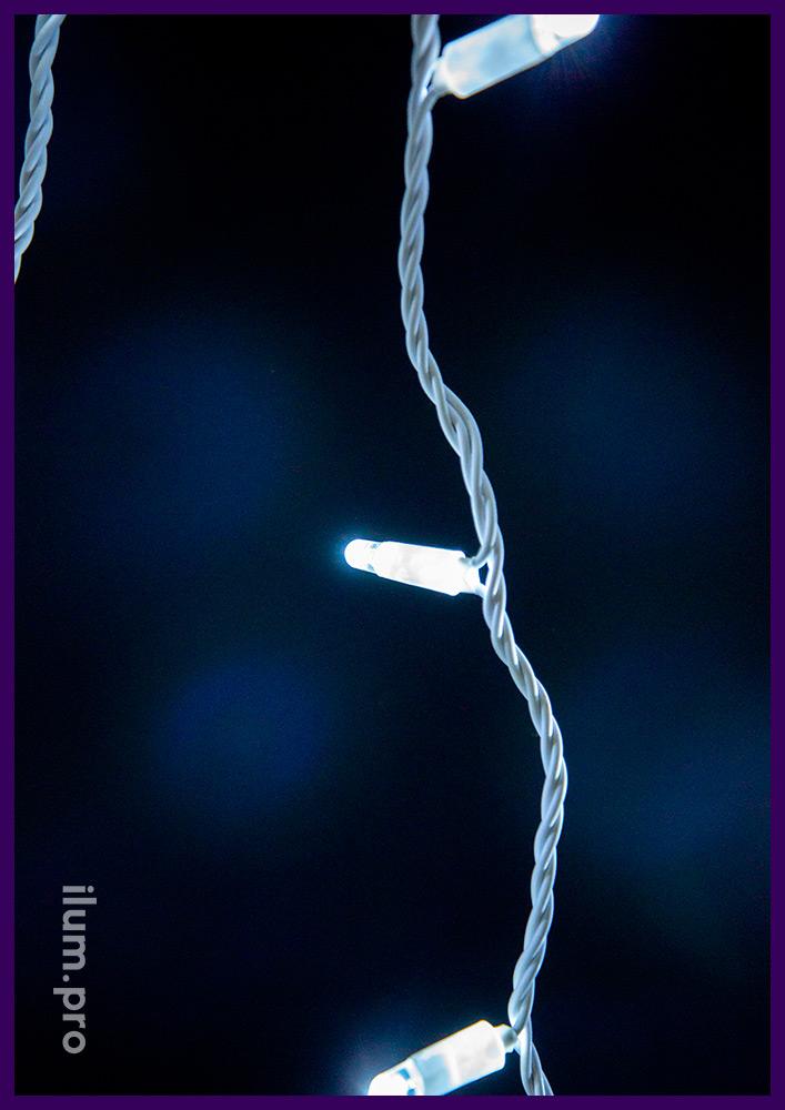 Белый светодиодный стринг статического свечения, белый кабель из ПВХ, напряжение 220 В