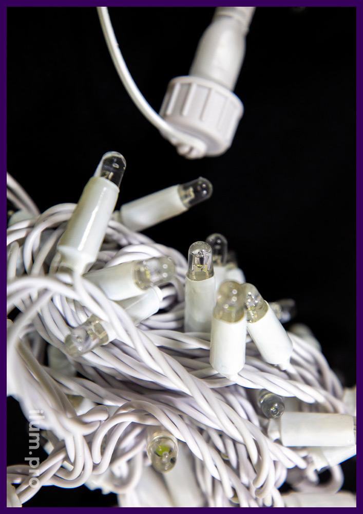 Белая светодиодная нить на белом проводе из ПВХ, статическое свечение, защита от осадков