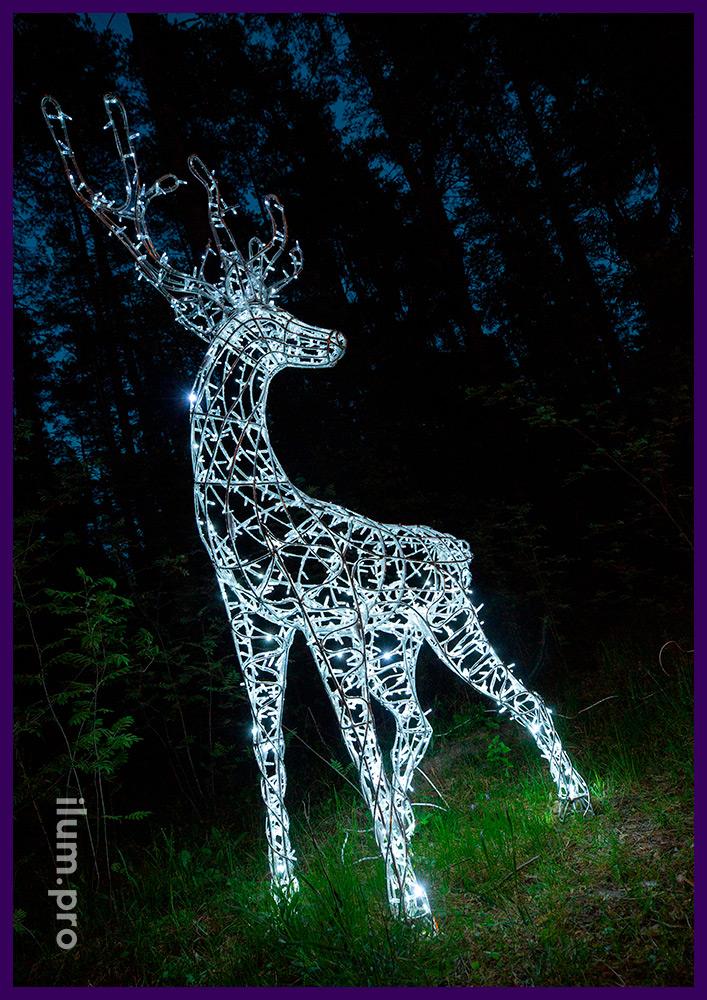 Самец олень из металлического каркаса и светодиодных гирлянд белого цвета