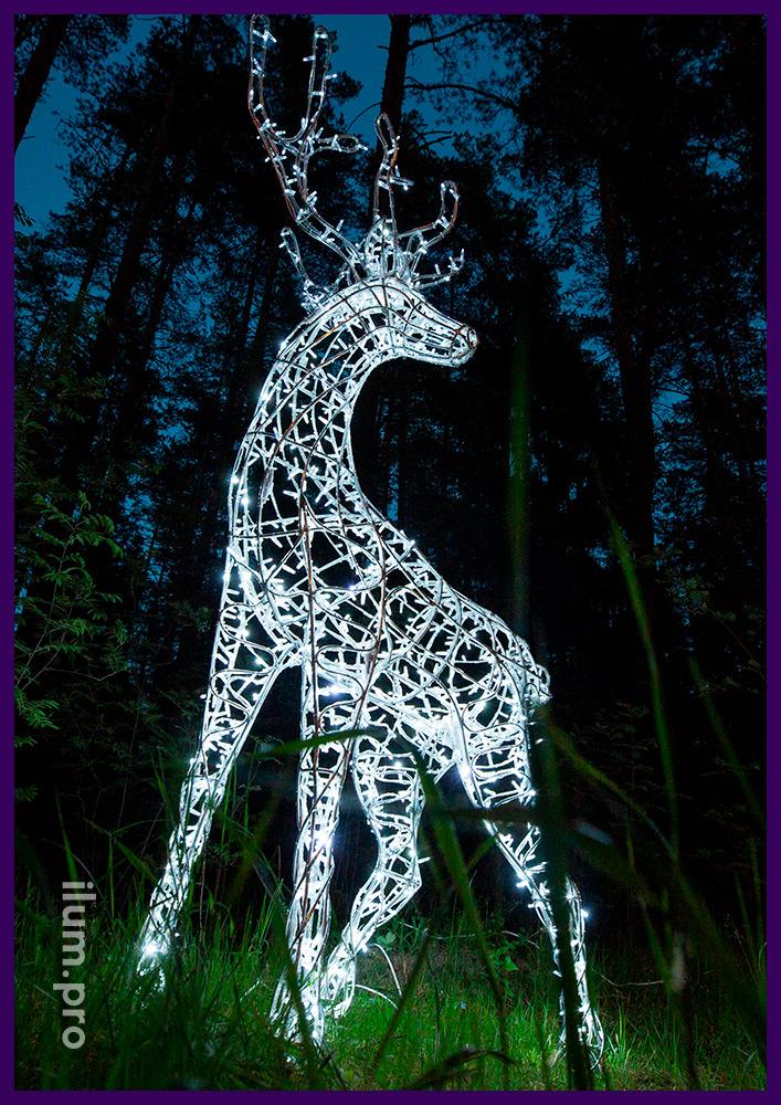 Белый светодиодный олень из гирлянд и алюминиевой проволоки в на лужайке