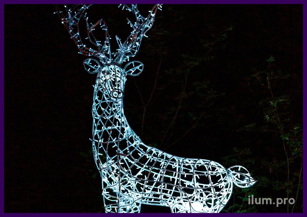 Световые фигуры для парка - олени из алюминия и светодиодной гирлянды IP65