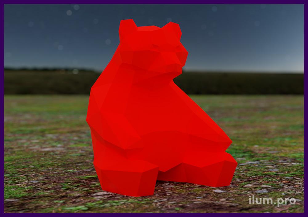 Металлическая фигура медведя - полигональный арт-объект для украшения сада или парка