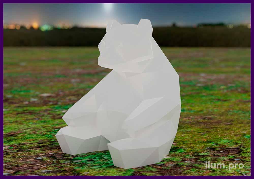 Медведь металлический полигональный - ландшафтная скульптура из стали