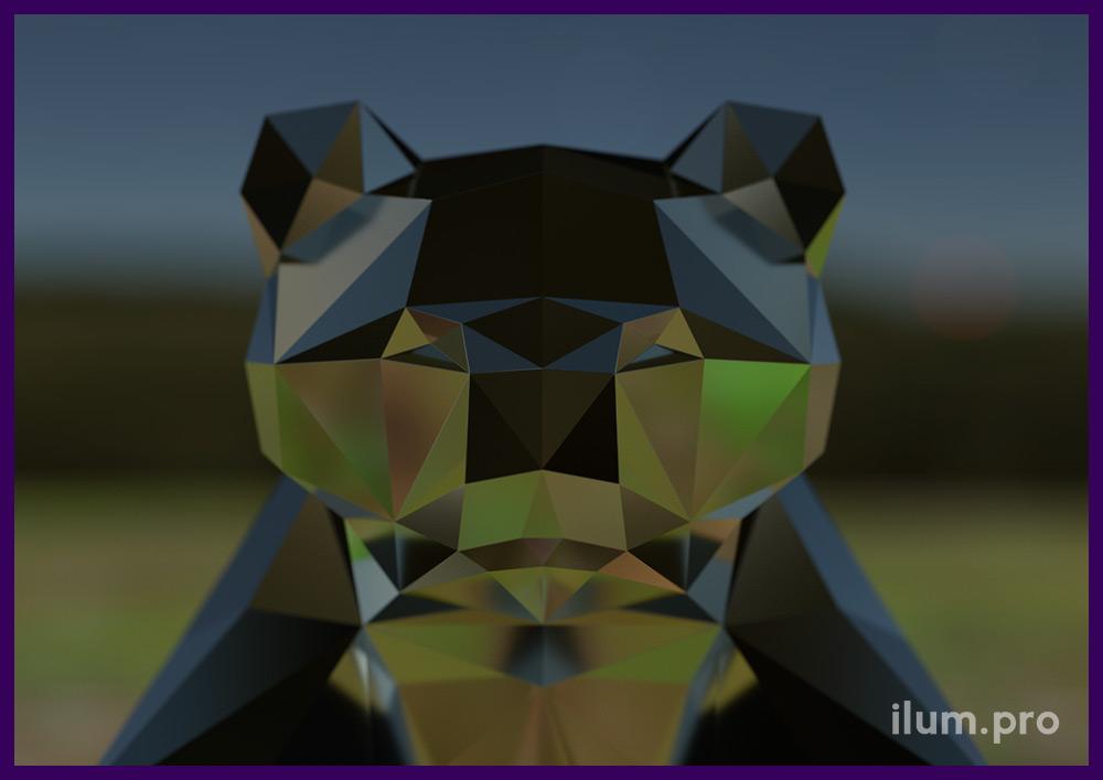 Стальная полигональная скульптура сидящего медведя для украшения территории жилого комплекса