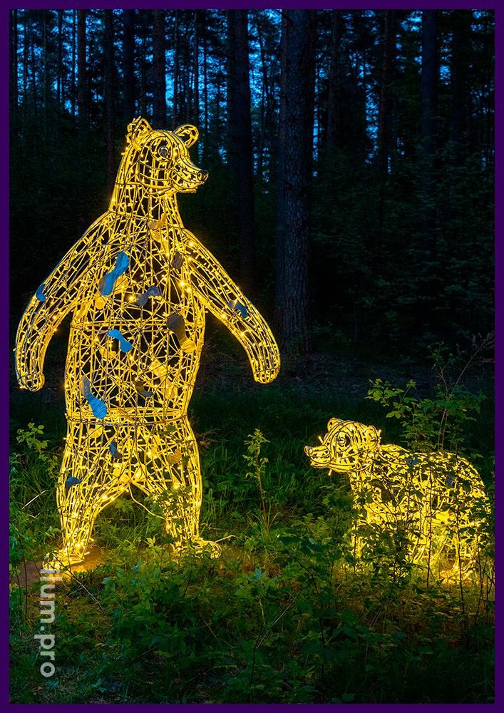 Светодиодные фигуры медведей с уличными гирляндами для установки в саду