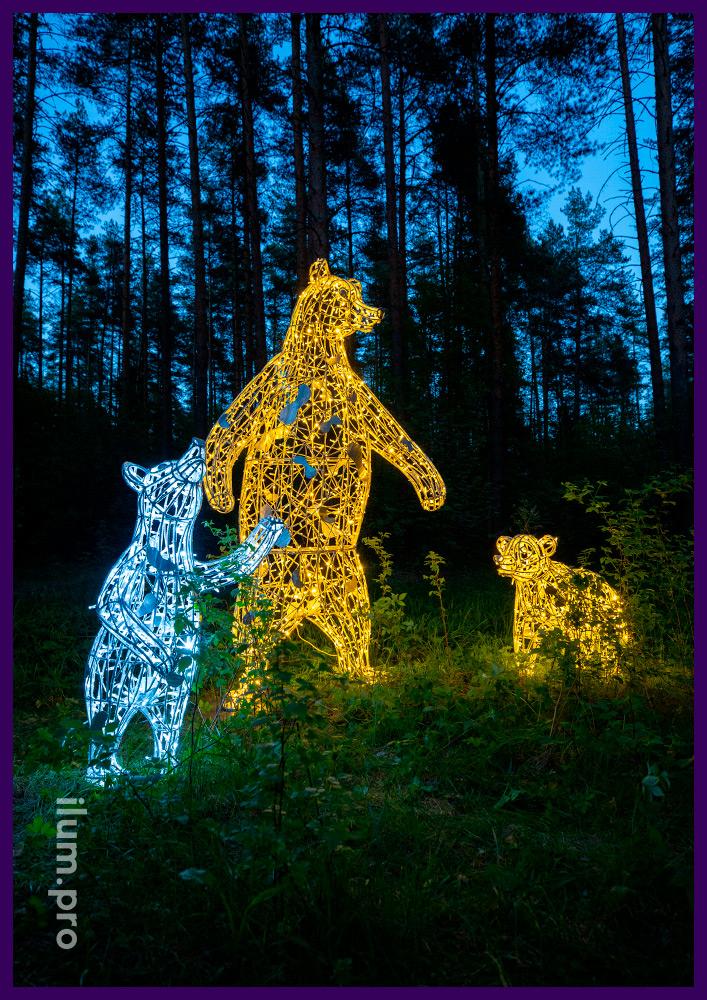 Светящиеся арт-объекты в форме животных для повседневной подсветки территории