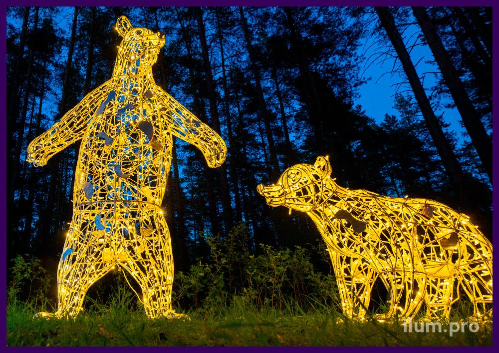 Арт-объекты с подсветкой в форме животных для благоустройства парка
