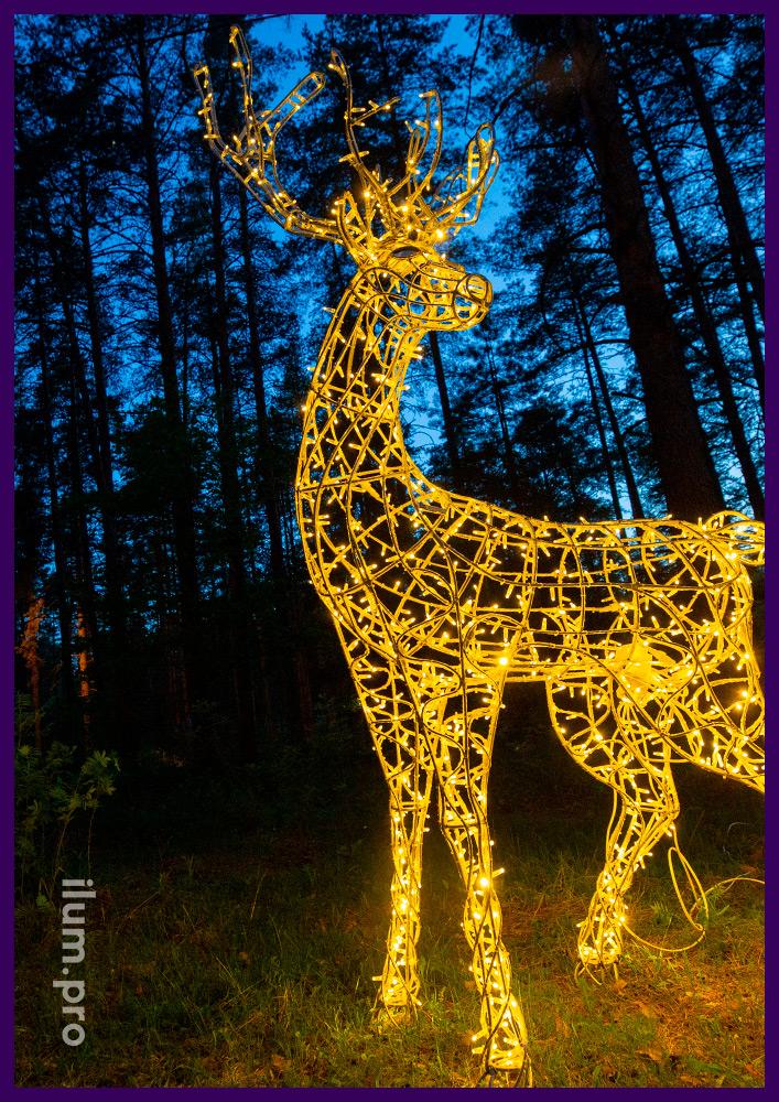 Олень светящийся с профессиональными гирляндами, фигура для украшения территории