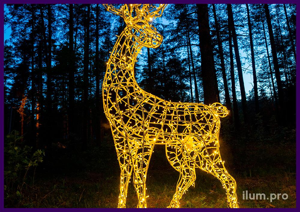 Светодиодные фигуры животных для парков и скверов в форме оленей