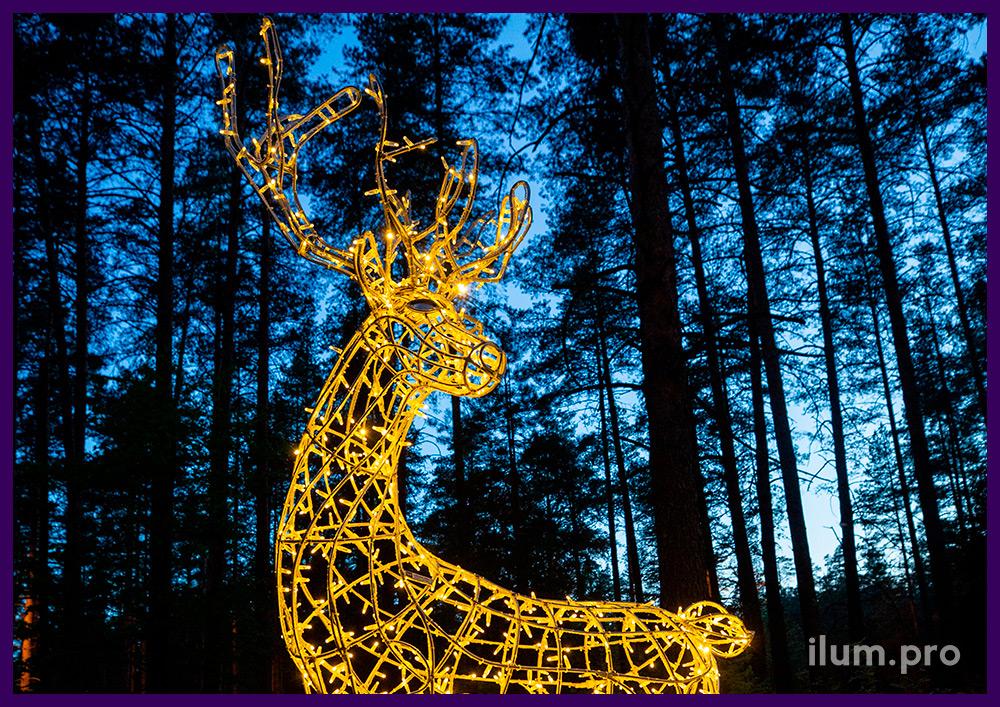 Олень из объёмного металлического каркаса и светодиодной иллюминации в парке
