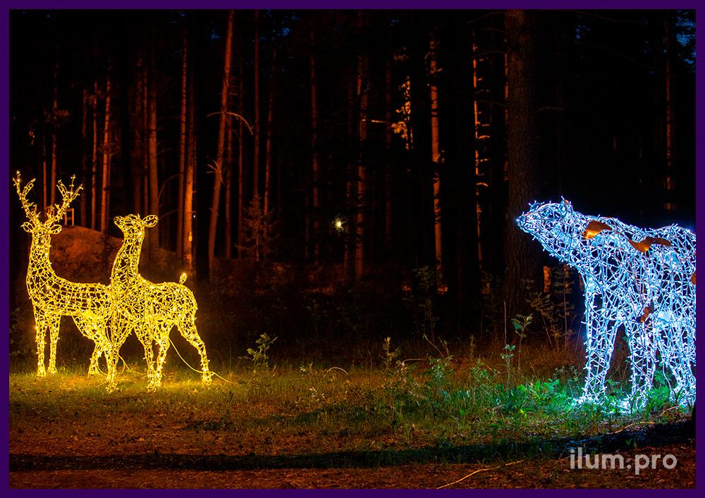 Металлические светодиодные фигуры в форме лис и оленей, объёмные арт-объекты