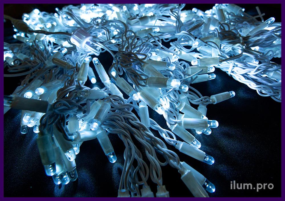 Гирлянды светодиодные белого цвета, мерцание, размер 2х1,5 м, белый провод из ПВХ