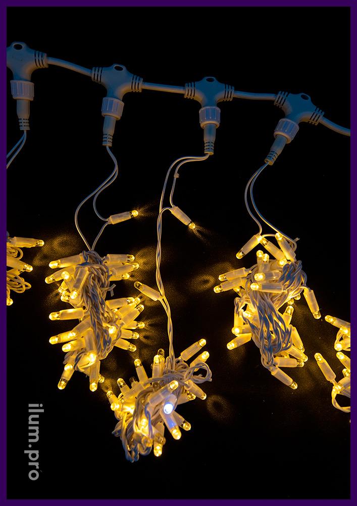 Занавес с эффектом мерцания, 600 LED, 2х3 м, тёпло-белое свечение, белый ПВХ провод