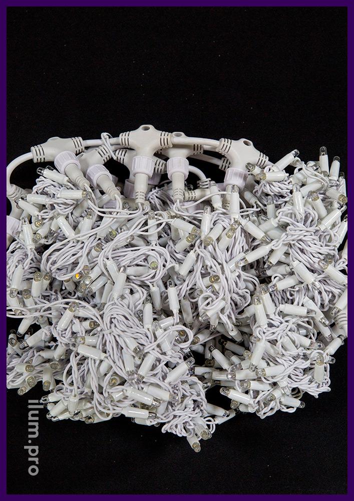 Занавес тёпло-белого цвета, мерцающий, размером 2х3 метра, гирлянда на белом проводе, IP65
