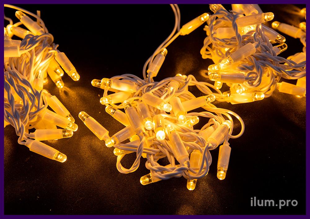 Мерцающая светодиодная гирлянда занавес 2х3 метра, тёпло-белое свечение с флеш-эффектом (мерцание)