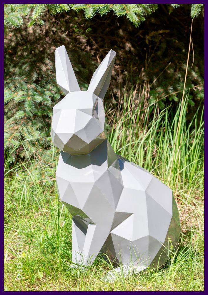 Заяц полигональный стальной, необычный арт-объект для благоустройства сада