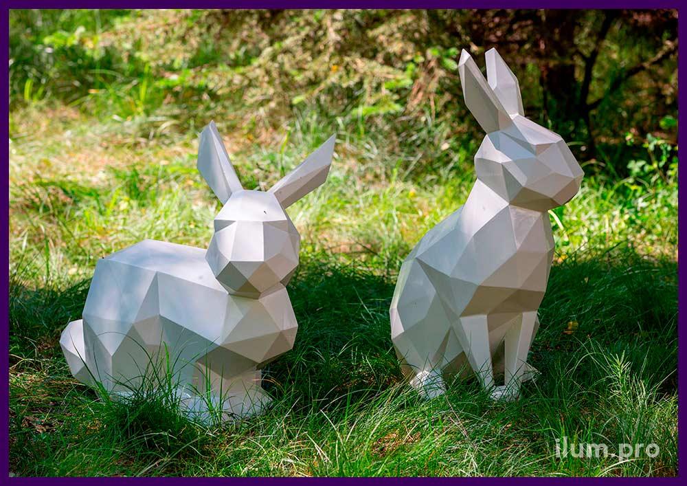 Металлические полигональные животные - арт-объекты в форме кроликов для украшения ландшафта