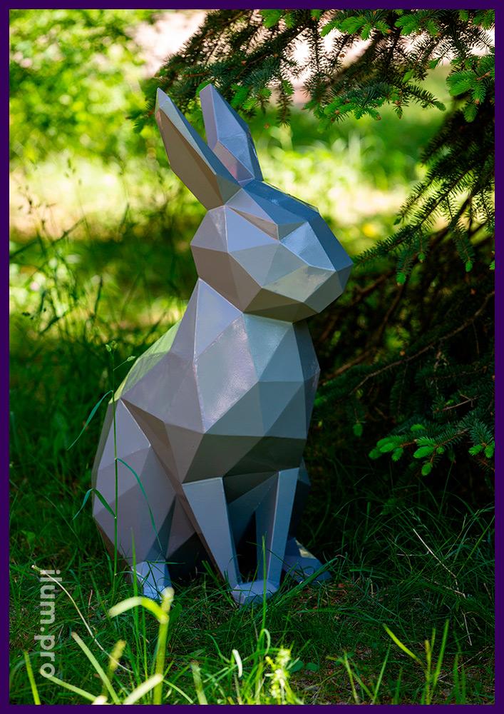 Кролик полигональный металлический, поверхность защищена от коррозии порошковой краской