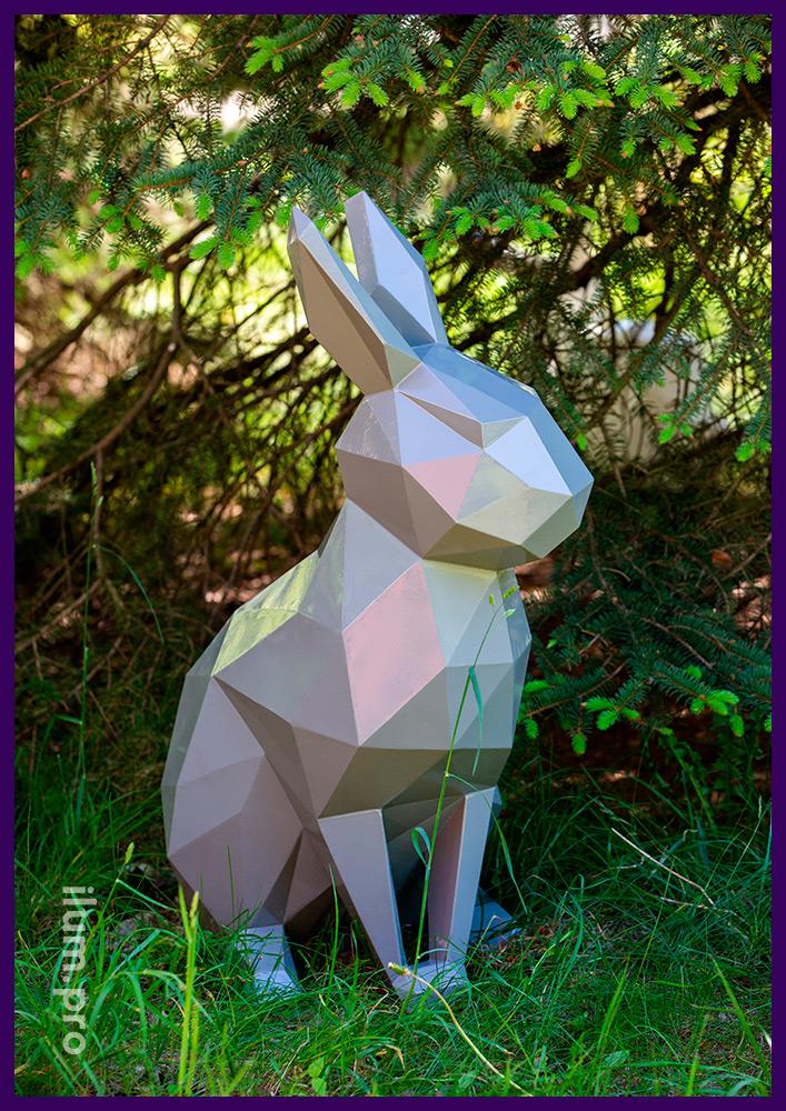 Кролик полигональный стальной, необычный арт-объект для благоустройства сада