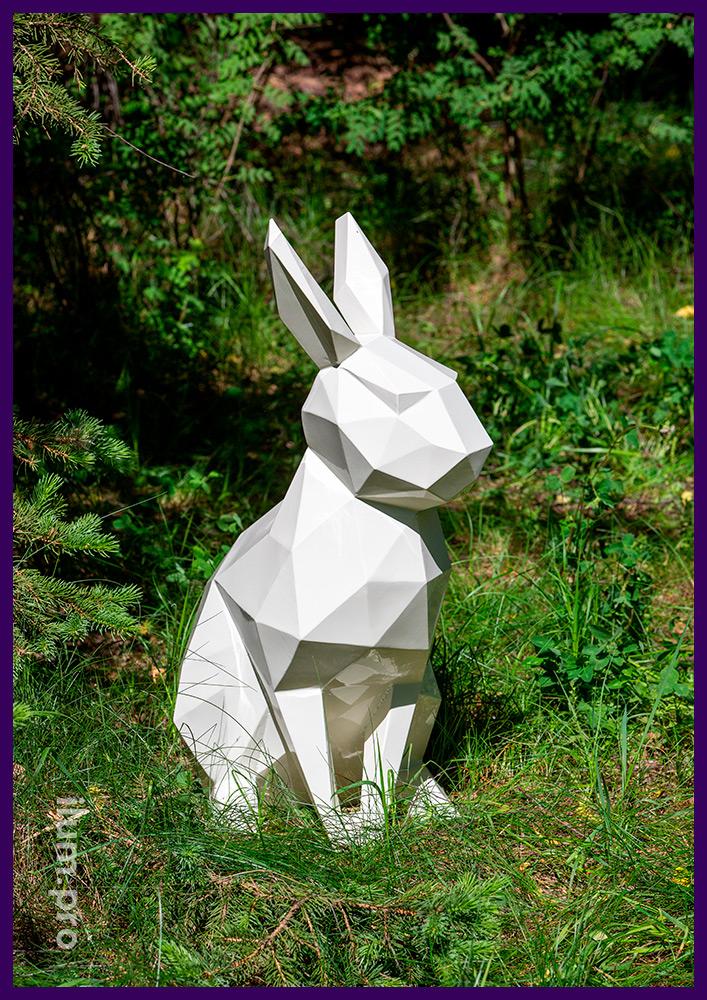 Заяц белый полигональный из стали с порошковым покрытием