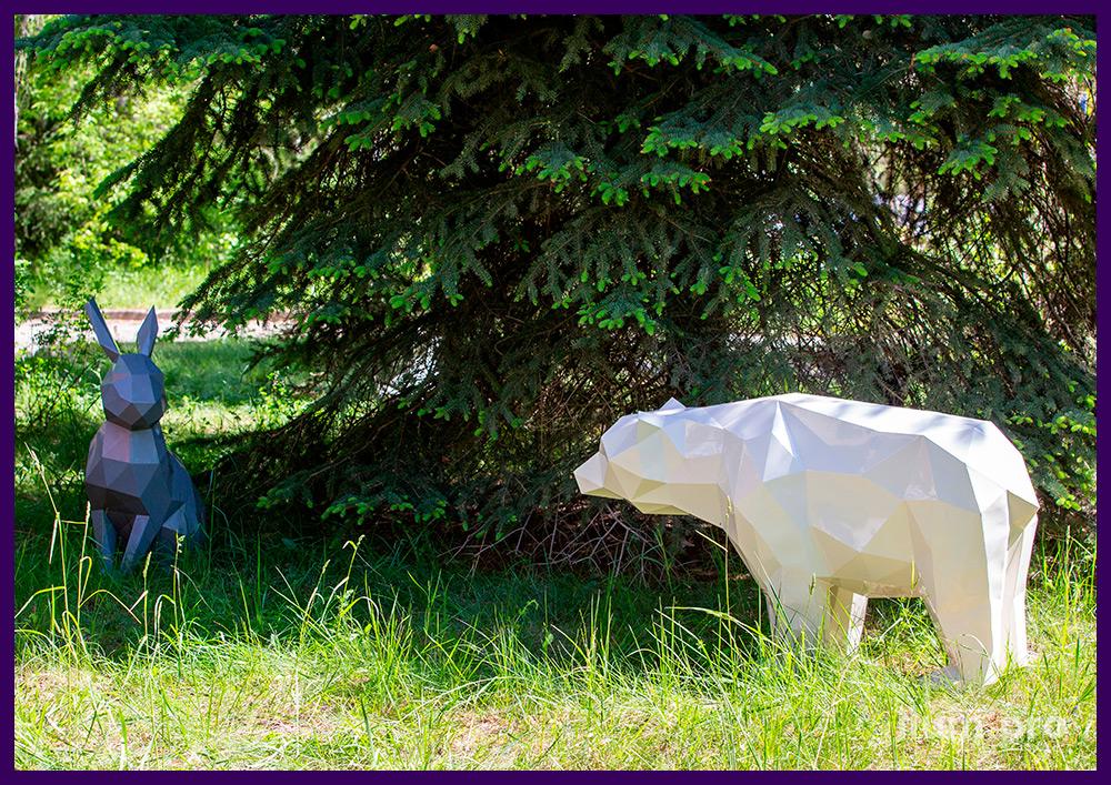 Полигональные скульптуры животных из металла для благоустройства территории