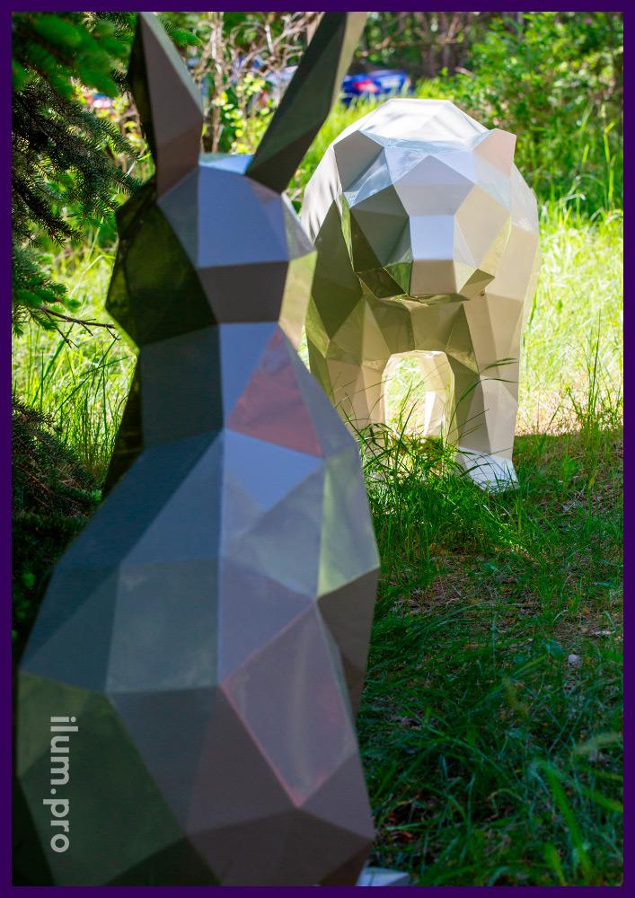 Арт-объекты металлические полигональные в форме животных для украшения парков