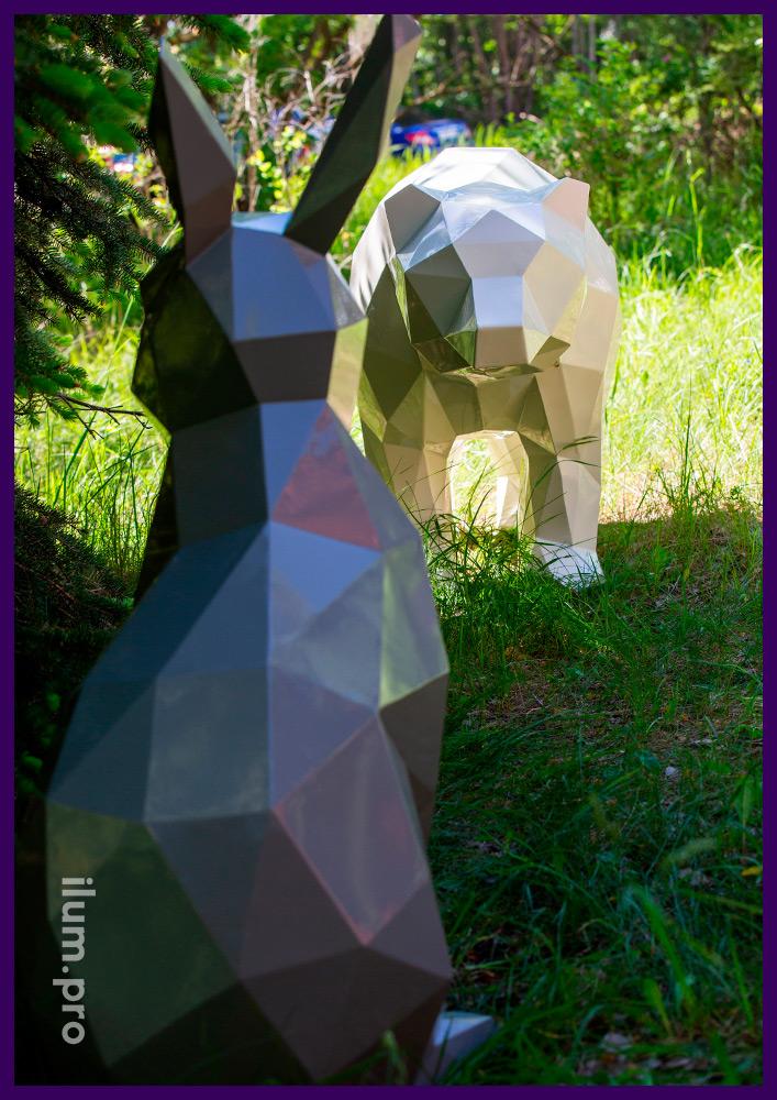 Заяц и медведь, арт-объект стальной полигональный, металлическая садово-парковая скульптура на газоне