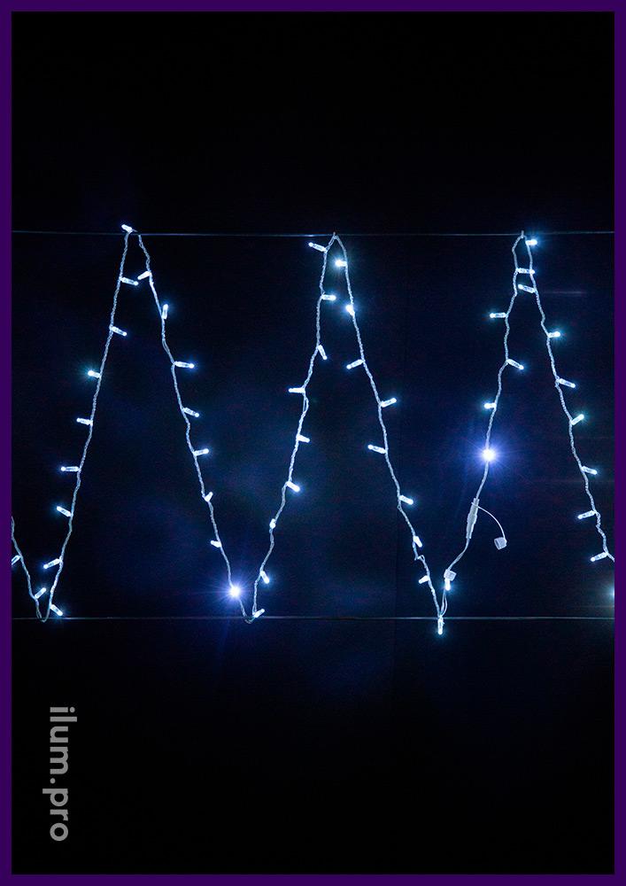 Белая гирлянда стринг статического свечения, прозрачный провод, колпачок IP65