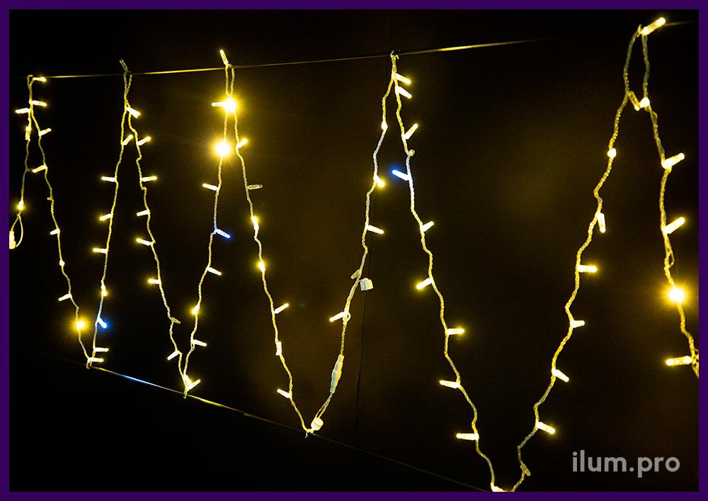 Мерцающая светодиодная нить длиной 10 метров, 100 тёпло-белых LED, защита от осадков и мороза, прозрачный ПВХ