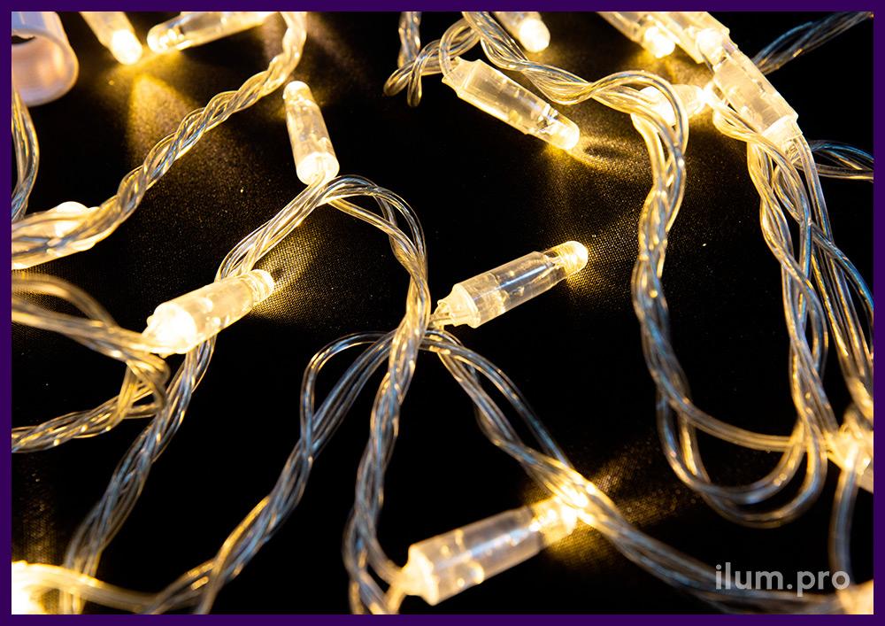 Нить светодиодная тёпло-белая, статика, прозрачный провод с защитой от осадков и мороза