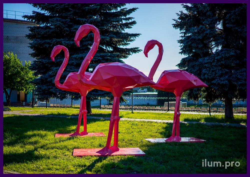 Фламинго полигональные розового цвета, металлические фигуры с защитой от коррозии