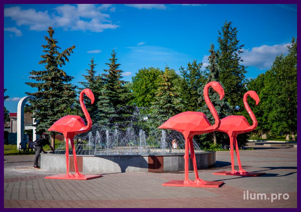 Фигуры полигональные из стали для украшения площади, розовые фламинго высотой 2,8 м