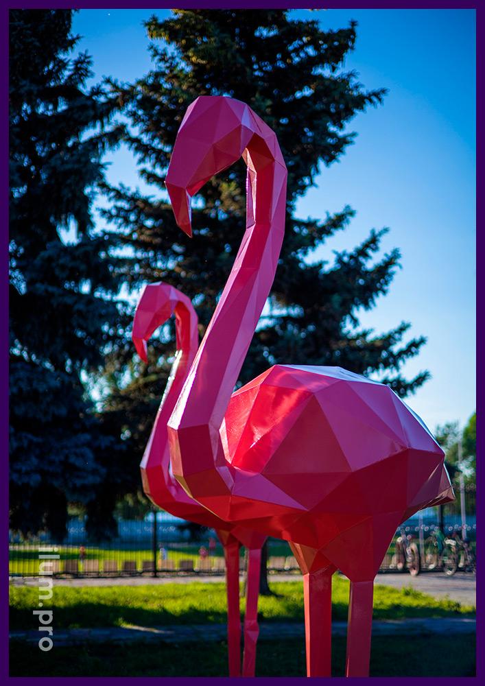 Фламинго розовые металлические - арт-объекты для благоустройства территории