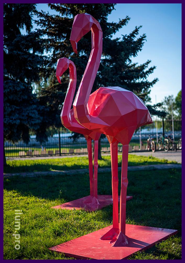 Металлические полигональные птицы для украшения территории, полигональные фламинго розового цвета