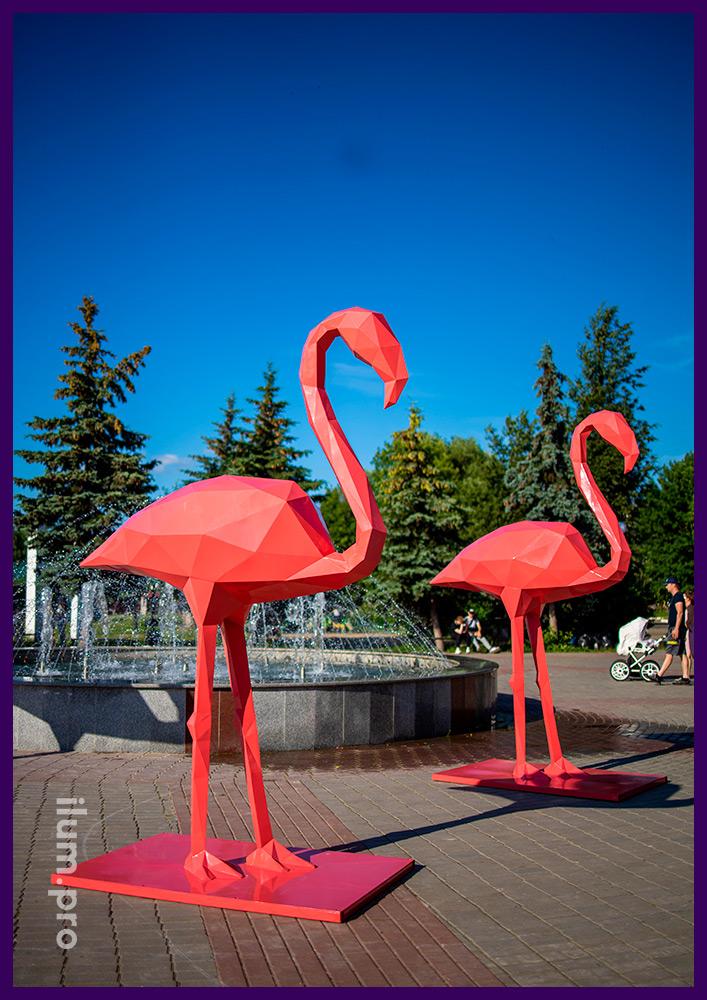 Фламинго металлические полигональные с покрытием розовой порошковой краской